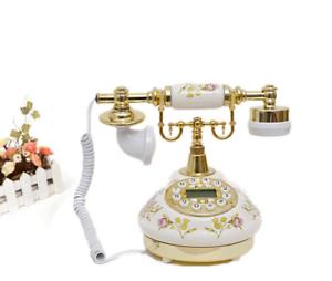 Vintage-Antik-Retro-Anrufer-Id-Handgeraet-Schreibtisch-Keramik-Telefon-Freisprech