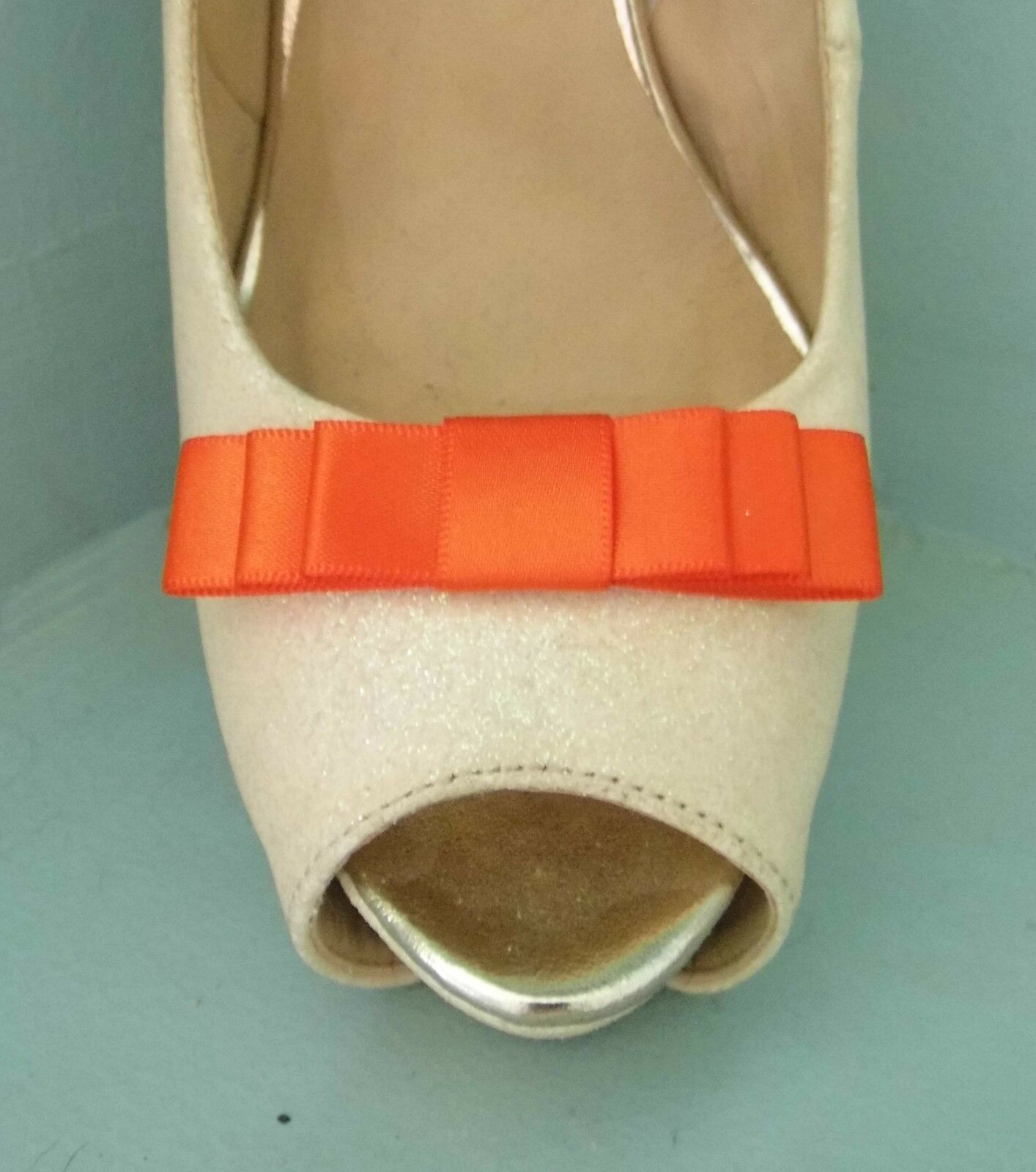 2 Small Burnt Orange Triple Bow Clips for Shoes - other colours on request