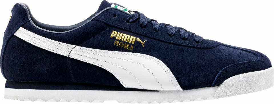 Brand New PUMA Roma Suede 8 Peacoat- Blanc  TrainersTaille 8 Suede 94199b