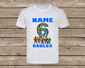 PERSONALISED CHILDREN'S KIDS BOYS ROBLOX T-SHIRT GAMING TOP NAME AGE GIFT NEW