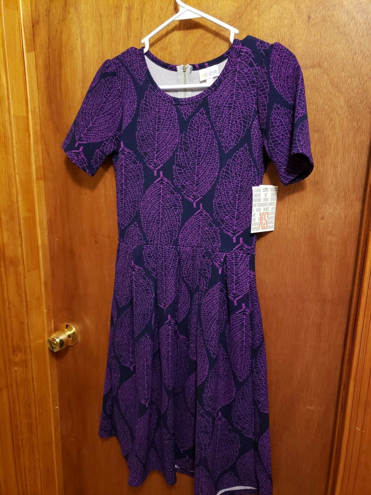1284184394d NWT LuLaRoe XS Purple Leaf Amelia Dress HTF Print ntbjke8281-Dresses ...