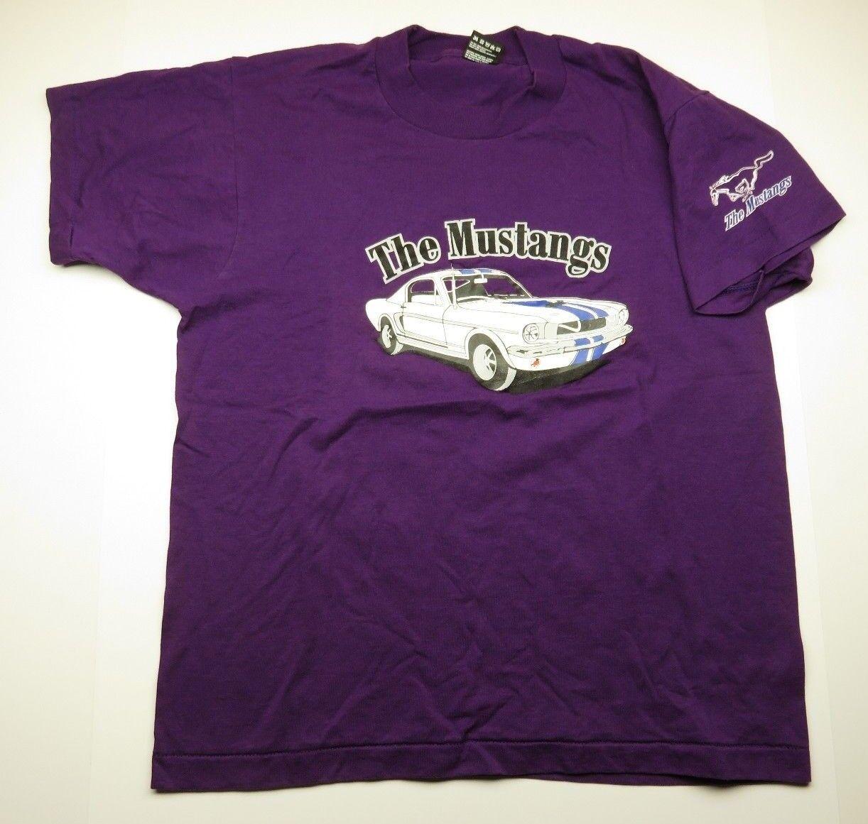 80s Retro The MUSTANGS Car & Horse Graphic Purple T-Shirt Adult Men's Size Large
