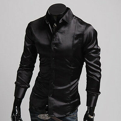 2014 Silk-Like Mens Long Sleeve Luxury Casual Solid Slim Fitted Dress Shirts Top