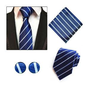 Tie-Pocket-Square-Cufflinks-Blue-White-Striped-Set-Individual-100-Silk-Wedding