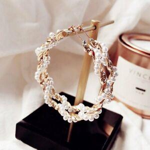 Statement-Round-Circle-Earrings-Pearl-Women-Ear-Hoop-Dangle-Drop-Fashion-Jewelry