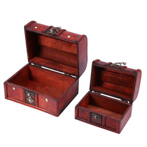 135af5592581c Wooden Jewelry Box Storage vintage small Treasure Chest Wood Crate ...