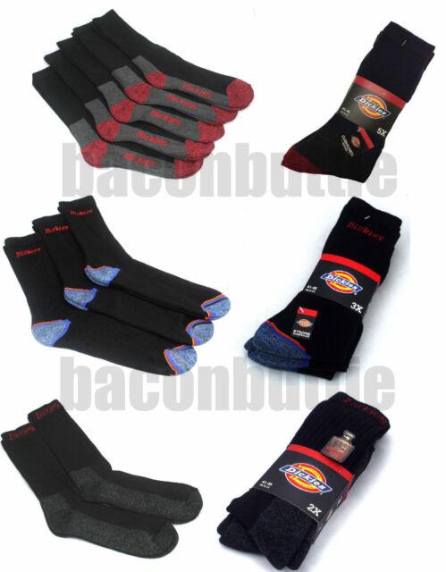 Dickies Travail Matelassé 2,3 et 5 Paquet Chaussettes avec Renforcée Talon Noir