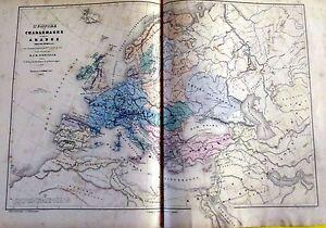 """ANCIENNE GRAVURES CARTE L'EMPIRE DE CHARLEMAGNE ET DE CELUI DES ARABES 1857 - France - Commentaires du vendeur : """"voir descriptif ET PHOTOS"""" - France"""