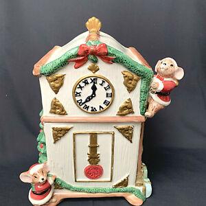 Fitz-amp-Floyd-OCI-1996-Christmas-Mice-Decorating-Grandfather-Clock-Cookie-Jar