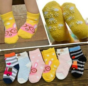 3 Pairs Girls Boys Kids Non Slip Thermal Slipper Socks Warm Soft Kitty Design