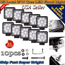 10pcs 27W Cree LED Work Light Bar Flood Square 4WD Offroad ATV Jeep 12V 24V Lamp