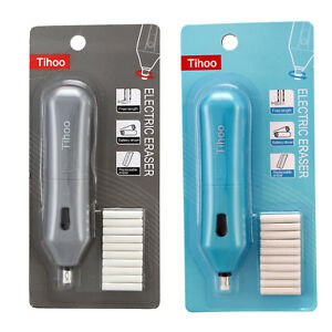 1PC-Handy-Electric-Pencil-Eraser-Rubber-Pen-Battery-Operated-Refills-Blue-Grey