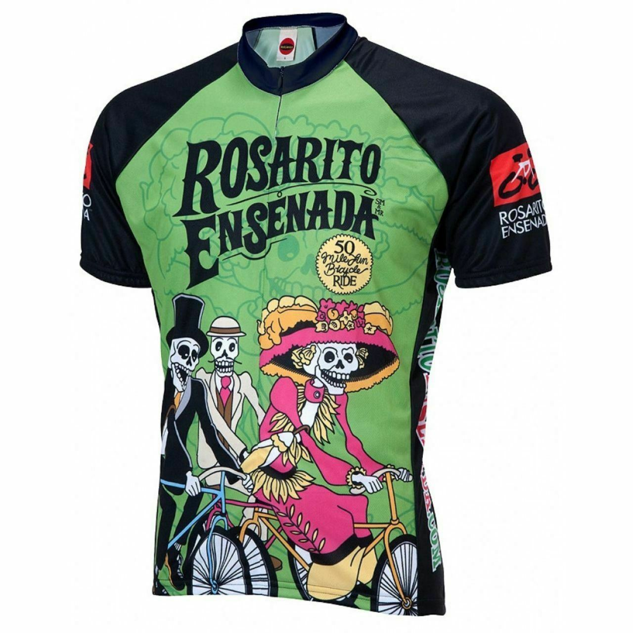 pinkrito Ensenada Day of  the Dead Short Sleeve 19  Zip  Men's Cycling Jersey  luxury brand