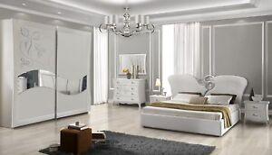 Details zu Schlafzimmer Set mit 180x200 cm Bett in Weiß Luxus Design