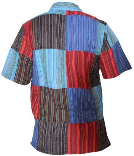 Mens Short Sleeved Colorful Hippie Grandad Shirt Summer Festival Cotton Men Tops