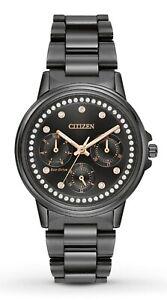 Citizen-Eco-Drive-Silhouette-Women-039-s-Crystal-Accents-Black-36mm-Watch-FD2047-58E