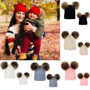 b954dfd9b1226 Details about Mom&Newborn Kid Baby Boy Girls Fur Pom Hat Winter Warm Knit  Bobble Beanie Cap UK