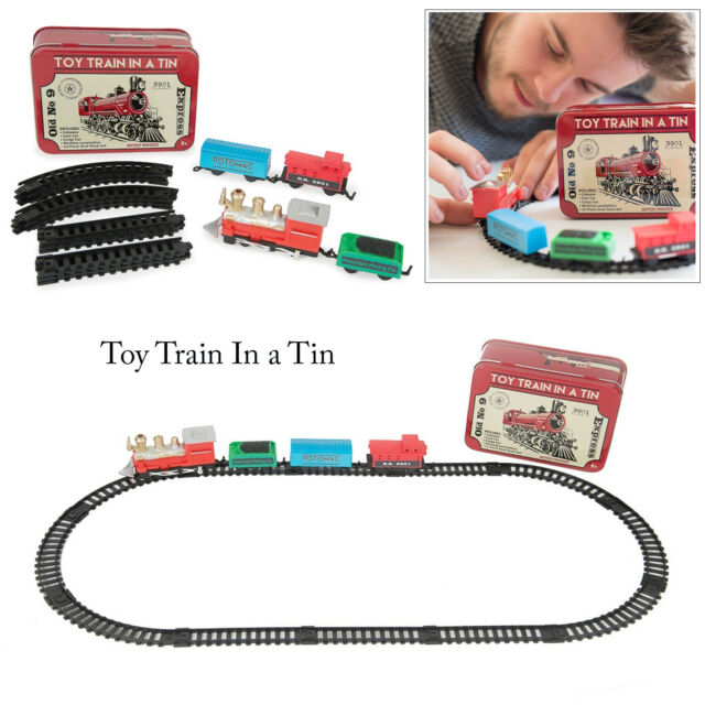 Funtime 12 Piece Miniature Desktop Train In A Tin Tabletop Vintage Gift Set Toy