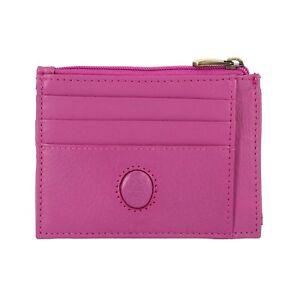 bd47337192fbdf NUVOLA PELLE Porta carte di credito in Pelle FUCSIA con cerniera e 7 ...