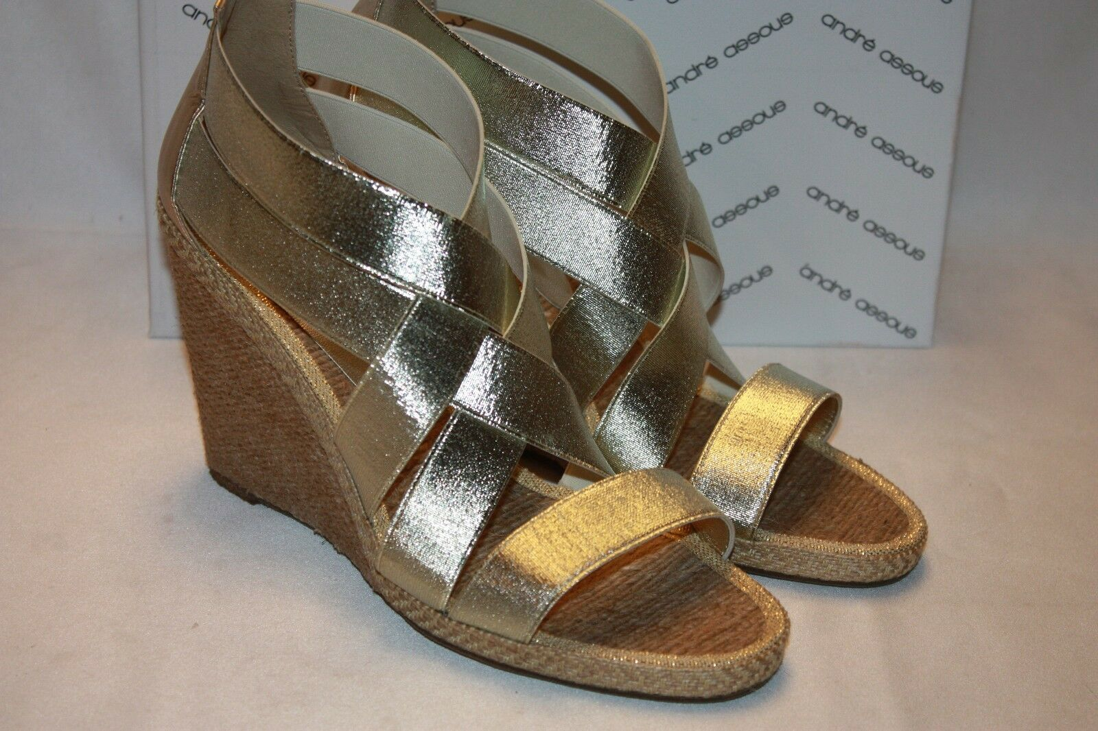 NEW  NIB ANDRE ASSOUS Platino Elasticized Straps Leather Jute Wedge Sandals  235
