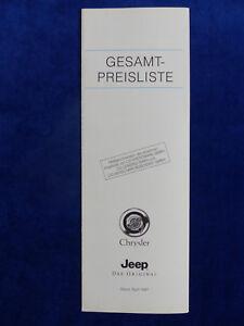 Chrysler Neon Stratus Viper Jeep Und Ausland Weithin Vertraut. Gesamt-preisliste Prospekt Brochure 04.1997 Um Eine Hohe Bewunderung Zu Gewinnen Und Wird Im In