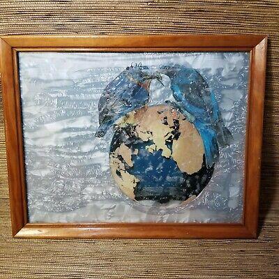 'earth Mit Blaue Vögel ' Mixed Media Original Kunst 11 X 14 Cm Von M 1995 Gute QualitäT