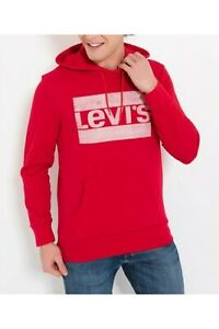 Details about New RED Levis Mens Striped WHITE Logo Pullover Hoodie Sweatshirt