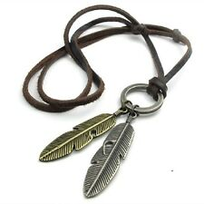 New Delicate Retro Necklace Collar Statement Leaf Leather Men Pendants Gift