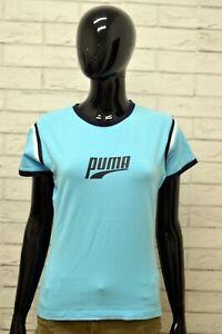 Maglia-PUMA-Donna-Taglia-Size-44-L-Maglietta-Shirt-Woman-Cotone-Manica-Corta-Blu