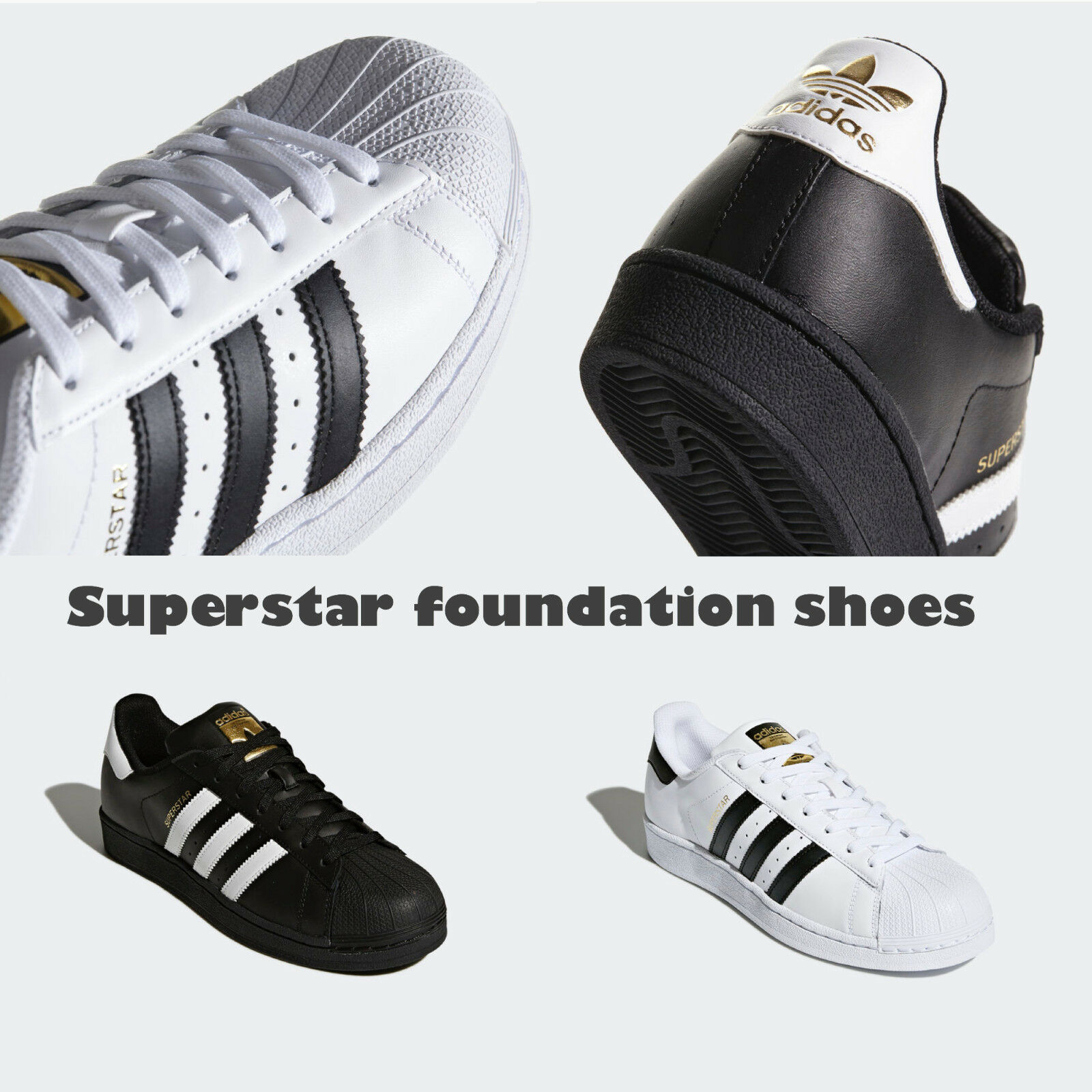 Adidas Superstar Unisex Men's AND Women's WHITE BLACK FOUNDATION Trainers shoes