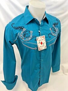 Mens-RODEO-WESTERN-COUNTRY-TEAL-HORSESHOE-Long-Sleeve-Woven-SNAP-UP-Shirt-Cowboy