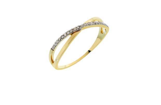 9ct Yellow gold 0.1Ct Diamond Set Credver Ring