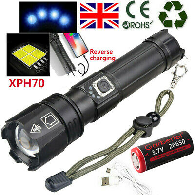 Details about  /990000LM Zoom XHP70 LED Torch USB Rechargeable 26650 Battery Flashlight Sets US/%
