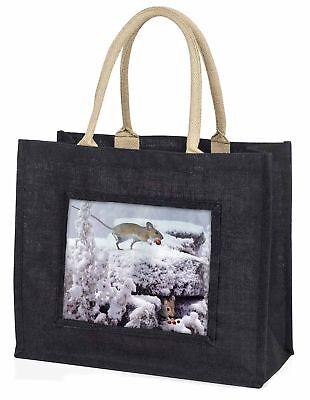 Spielfeld Maus,Schnee Maus große schwarze Einkaufstasche Weihnachten