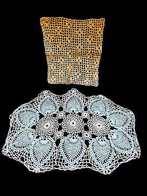 VTG lot of 2 Table Doily Lace Dresser Decorative hand crochet blue brown