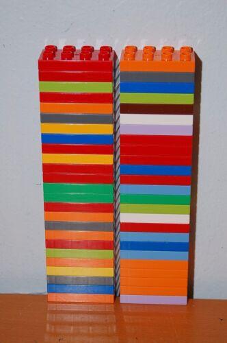 Lot of 50 Lego Duplo 2x4 Flat Blocks Baseplates random assorted colors