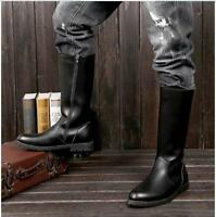 Women's Pointy Toe Platfform Worker Military Riding Boots Knee High Shoes Size