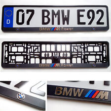 Black 3D BMW POWER LOGO European Euro License Number Plate Holder Frame German