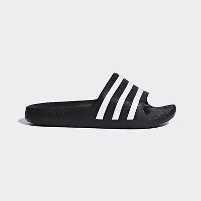 adidas Boys Girls Slippers Black White
