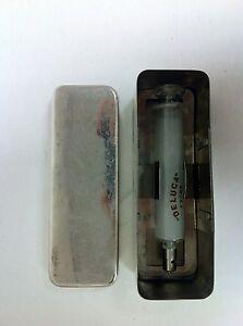 Antique-Argentina-Deluca-Glass-Medical-Syringe-with-case-LARGE-size-636B