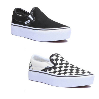 Vans Classic Slip On Platform Women Canvas Black White Trainers Size UK 3 8 | eBay