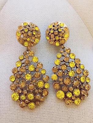 Oscar De La Renta Milky Crystal Pave Teardrop Earrings Signed