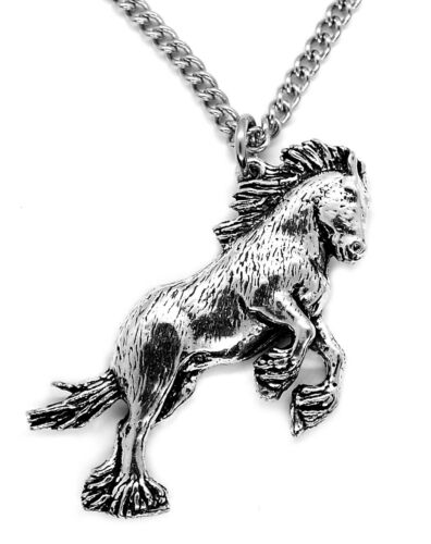 Pewter, Made in UK Shire Horse Pendant with Chain Necklace in Gift Pouch