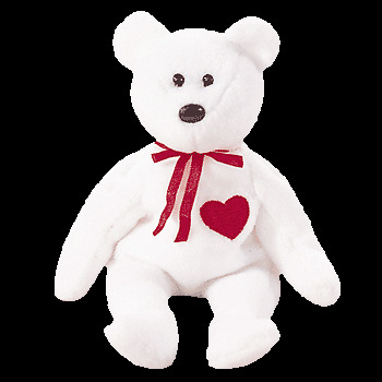 "TY Beanie Baby /""Valentino/"" White w//Red Heart MWMT 4th Gen Retired"