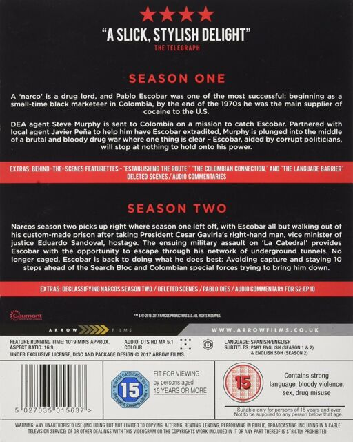 Narcos Seasons 1 to 2 Blu-ray UK BLURAY