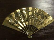 Vintage Brass Fan Wall Decoration Enesco Dragon
