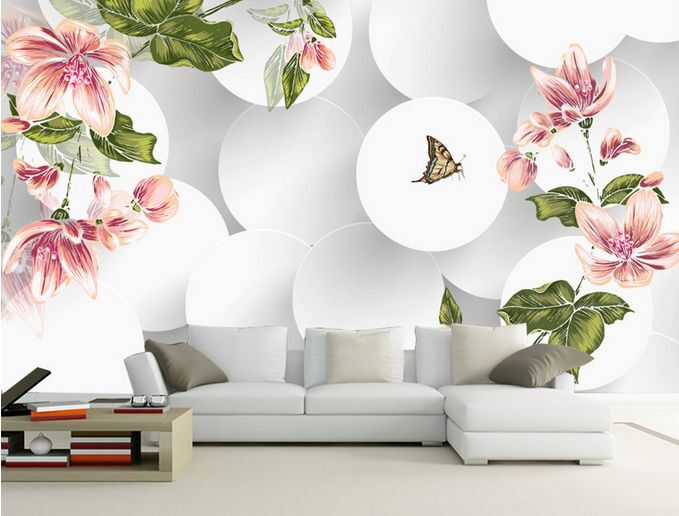 3D Tondo, farfalla 67 Parete Murale Carta da parati immagine sfondo muro stampa