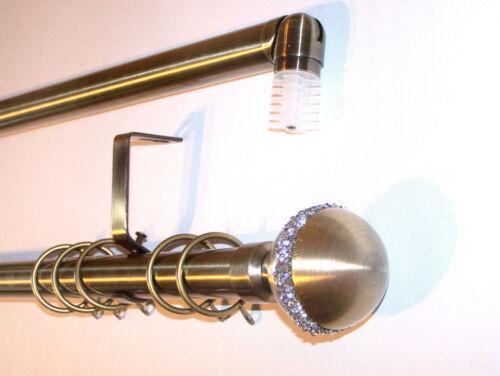 28mm Antique Brass Bay Window Curtain Pole Diamante Ball Finials 3m 300cm 3000mm