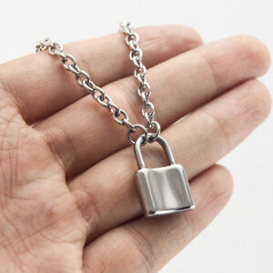 Women-Jewelry-Silver-Color-Padlock-Necklace-Alloy-Pendant-Chain-Gifts