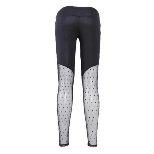 Femmes Leggings Pantalon taille haute stretch Slim Crayon Maille Yoga Athletic Pantalon N